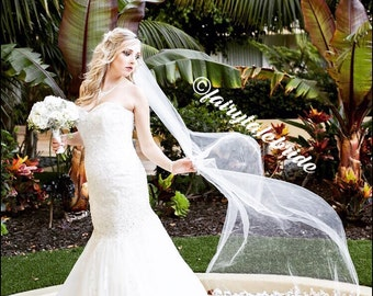 Cathedral length wedding veil in white/ivory fully customizable