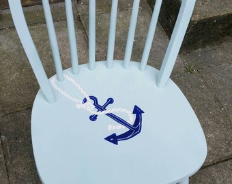 Nautical wooden chair with anchor, collection only