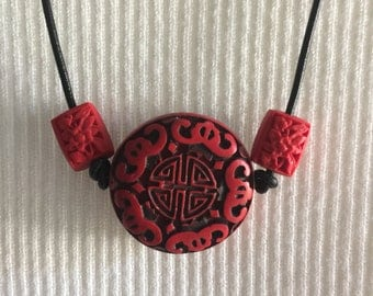 Asian red and black necklace, red & back Charm pendant