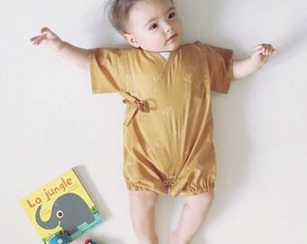 Baby kimono, rompers jinbei, TSULU GOLD, fabric by Atelierbrunette
