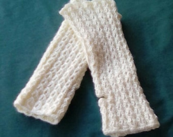 Antique White Fingerless Texting Mitts