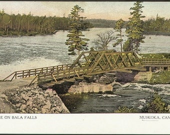 Bala Falls bridge, Muskoka 1910. Print of vintage postcard. Antique art print, wall decoration, cottage decor.