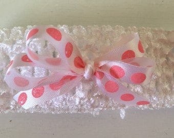 White with Pink Polka Dot Bow on Stretchable Headband