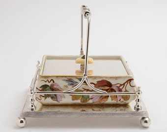 Victorian Oblong hand painted & silver plated butter dish. (ID 47014)