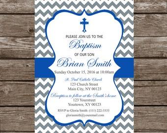 Boy Baptism, Christening, Bautizo Invitation- Digital