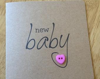 Handmade New Baby Girl card