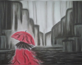 Walking In The Rain (pastel picture)
