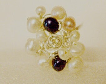 Multi colored fresh water pearls & sterling silver ring.