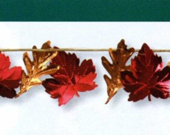 9 Foot Autumn Fall Leaves Foil Garland for Wedding, Anniversary, Thanksgiving Decor Decoration