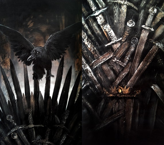 Game of thrones art the iron throne oil painting by for Iron throne painting