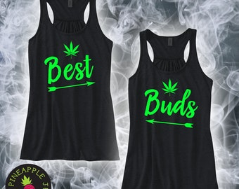 Best Buds Stoner Ladies Racerback Flowy Tank Arrows - Best friend stoner tank with arrows