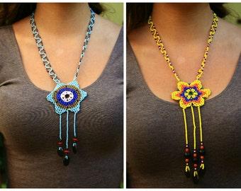 Handmade Shipibo Flower of Life Beaded Native Huichol Like Necklace