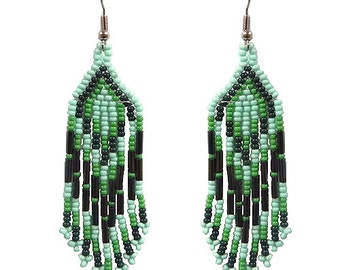 Seed Bead Dangle Earrings Turquoise Green Dark Green
