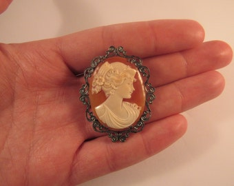 Handmade cameo in Silver 925 with cord hook necklace made in Italy