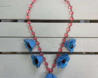 1940's vintage celluloid necklace - flowers - pink, blue and red