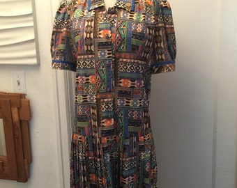 Vintage 80's French exotic Southwest print dress