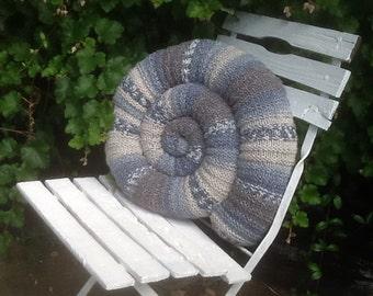 Knitted Ammonite Cushion Hand Made