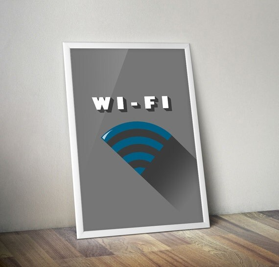 Tech Minimalist Wi Fi Poster 24x36 Wifi Sign Dorm Decor