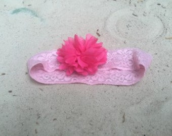 Irish handmade lace hairband with chiffon flower