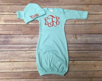 Mint Baby Gown, Baby Gown, Hospital Gown, Embroidered Baby Gown, Baby Gift, Baby Shower Gift, Personalized Baby Gift