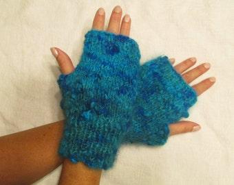 Hand knit, 100% Angora Texting Mittens