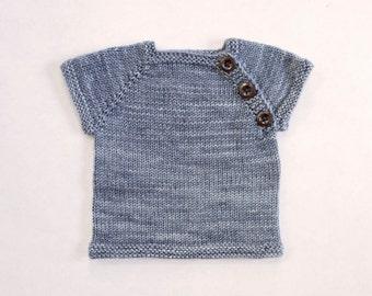 "Newborn (5-8lbs) Heirloom Sweater in Madelinetosh Pashmina ""Charcoal"""