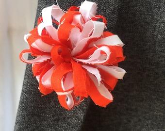 Bright Orange and White Mens lapel pin, Lapel pins men, Flower lapel pin, Mens lapel flower, Lapel pin, Lapel flower
