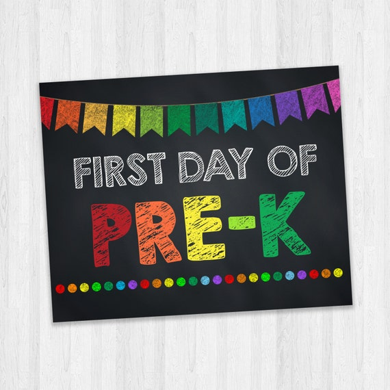 Adorable image within first day of pre k sign printable