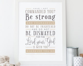 Joshua 1:9 Printable, Bible Verse Art, Scripture Print, Typography Wall Quote, Instant Download, Art Print, High-res Printable