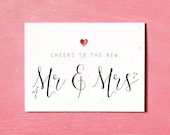 Mr & Mrs Printable, Wedding Card Congratulations, Bride and Groom Card, Instant Download, Mr and Mrs Card, Wedding Gift Card, Newlyweds Card