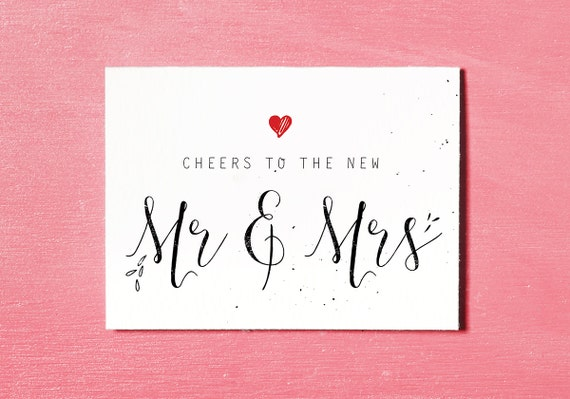 Wedding Gift Certificate Ideas: Mr & Mrs Printable Wedding Card Congratulations Bride And