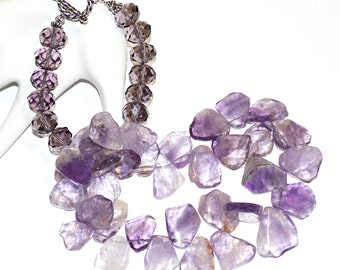 Chunky Amethyst Statement Necklace, Purple Amethyst Gemstone Necklace, Lavender Amethyst Statement Necklace