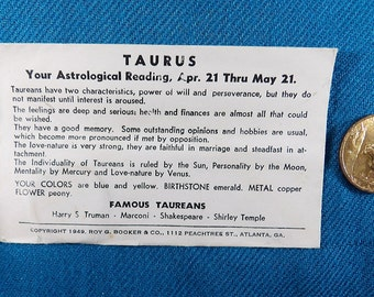 Taurus Zodiac Vintage Good Luck Collectable Coins/Tokens (Not US Currency)