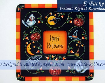 227E E-PACKET Candy Corn Vines Frame Decorative Painting Pattern Digital - Instant Download