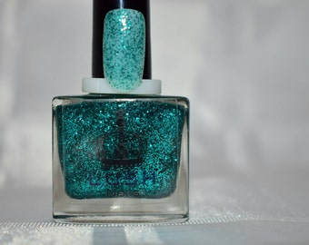 Metallic teal 10ml glitter nail polish