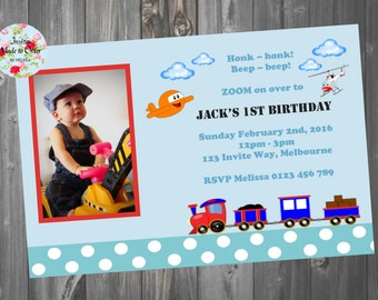 Boys Train Plane Helicopter Blue Birthday invitation with photo Cute