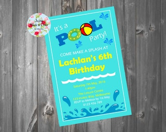 Pool Party Invitation Slash water
