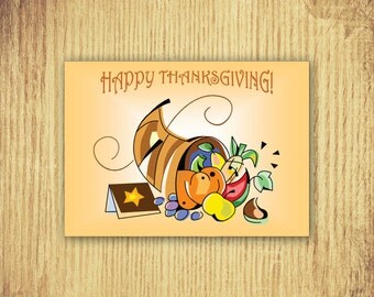 Thanksgiving Cornucopia - Thanksgiving Card 5 x 7 Digital Download Only