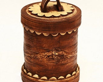 The container is made of birch bark