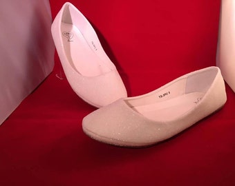 White Glitter Bridal Shoes Wedding Shoes Flats Low Heel