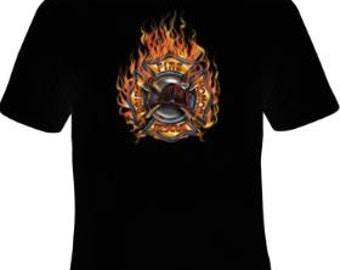 Firefighter T-Shirt, Fireman Crest, Fireman T-Shirt, Gifts for Firefighter