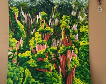 Original Landscape Acrylic Painting   Tianzi Mountains with Trees
