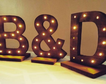Marquee Wood Letter Set -  Lighted Wood Letters - Lighted Initials - Wedding Decor - Rustic Wedding - Wedding Cake Table Initials