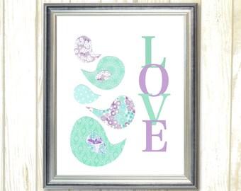 Nursery Printable art Nursery decor Bird Nursery wall art, Purple and Aqua nursery Printable wall art, kids decor Love