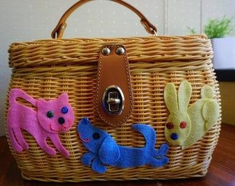 Pet Lovers Rattan Basket