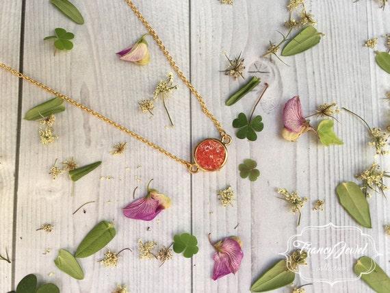 Orange quartz crystal necklace, orange stone, precious stone, 18k gold plated, druzy, crystal pendant, wedding gift, bridesmaid gift