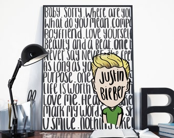 Justin Bieber Print, Justin Bieber Gift, Home Decor, Hand Lettering, Typography, A4 Quote, Music, Song Lyrics, Justin Bieber, gift for her,