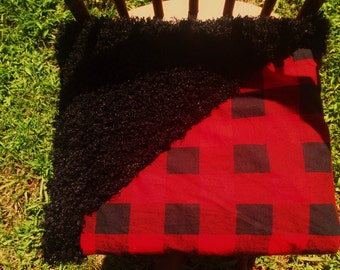 Red and Black buffalo plaid and black faux fur double sided Baby blanket