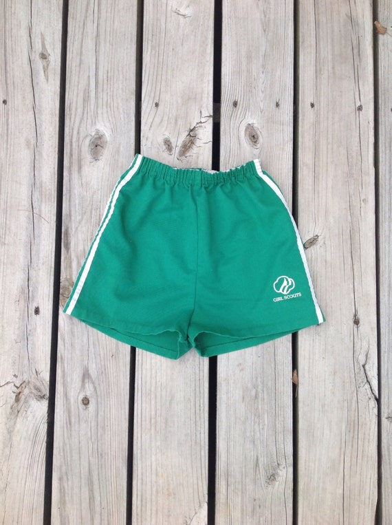 Vintage 70s authentic GIRL SCOUTS brand shorts, green with white stripes down the side, size kids large, adult XS-S