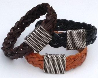 Unisex Braided Leather bracelet, unisex leather bracelet, unisex leather Bracelet